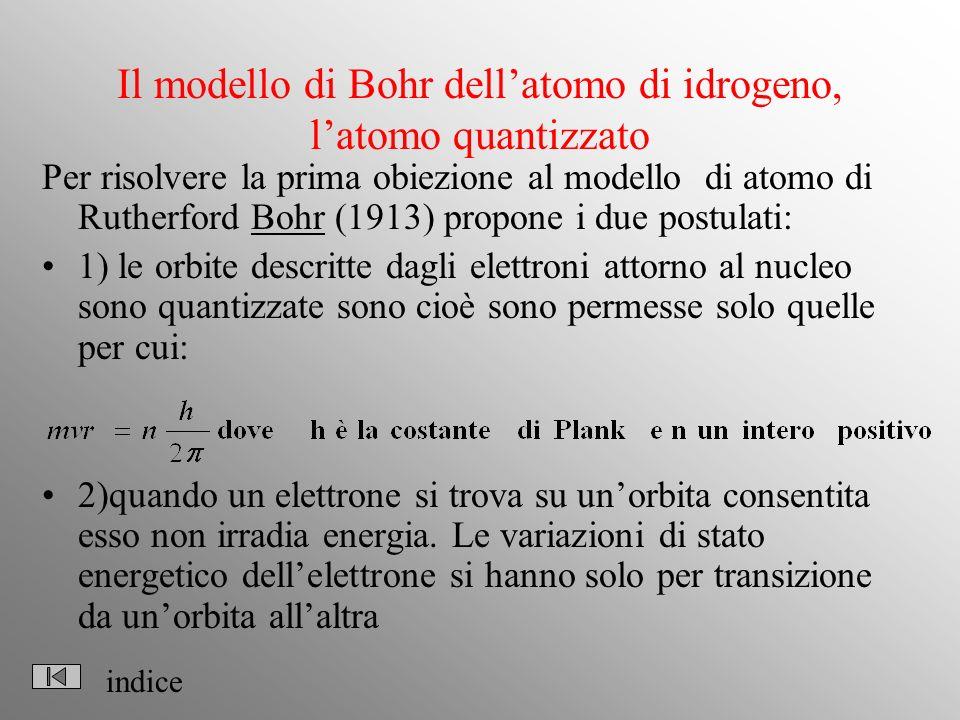 Il modello di Bohr dellatomo di idrogeno, latomo quantizzato Per risolvere la prima obiezione al modello di atomo di Rutherford Bohr (1913) propone i