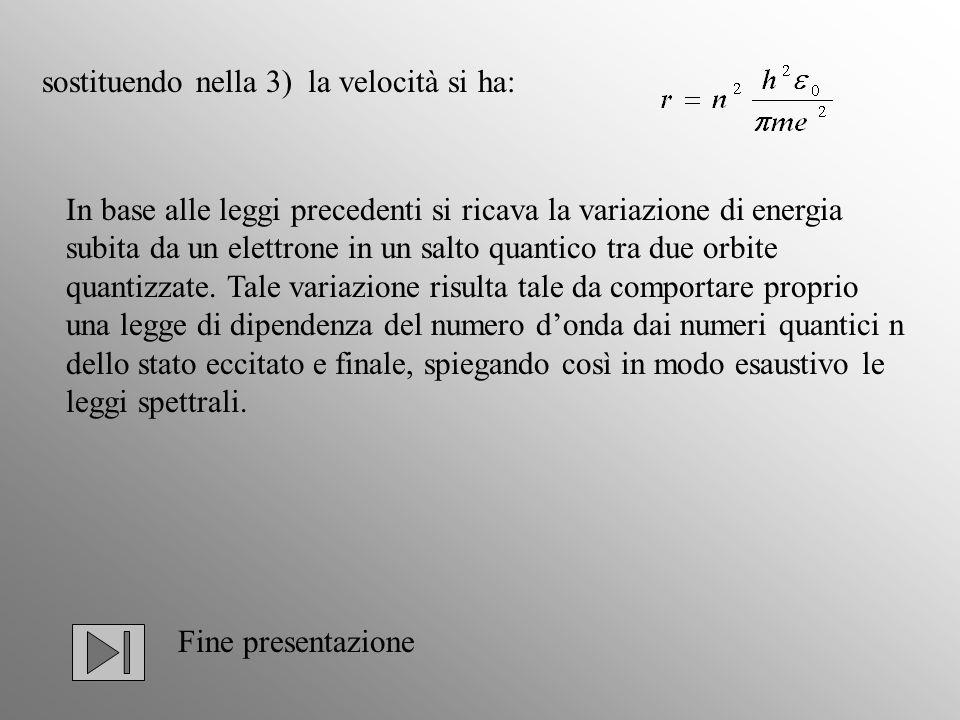 sostituendo nella 3) la velocità si ha: In base alle leggi precedenti si ricava la variazione di energia subita da un elettrone in un salto quantico t