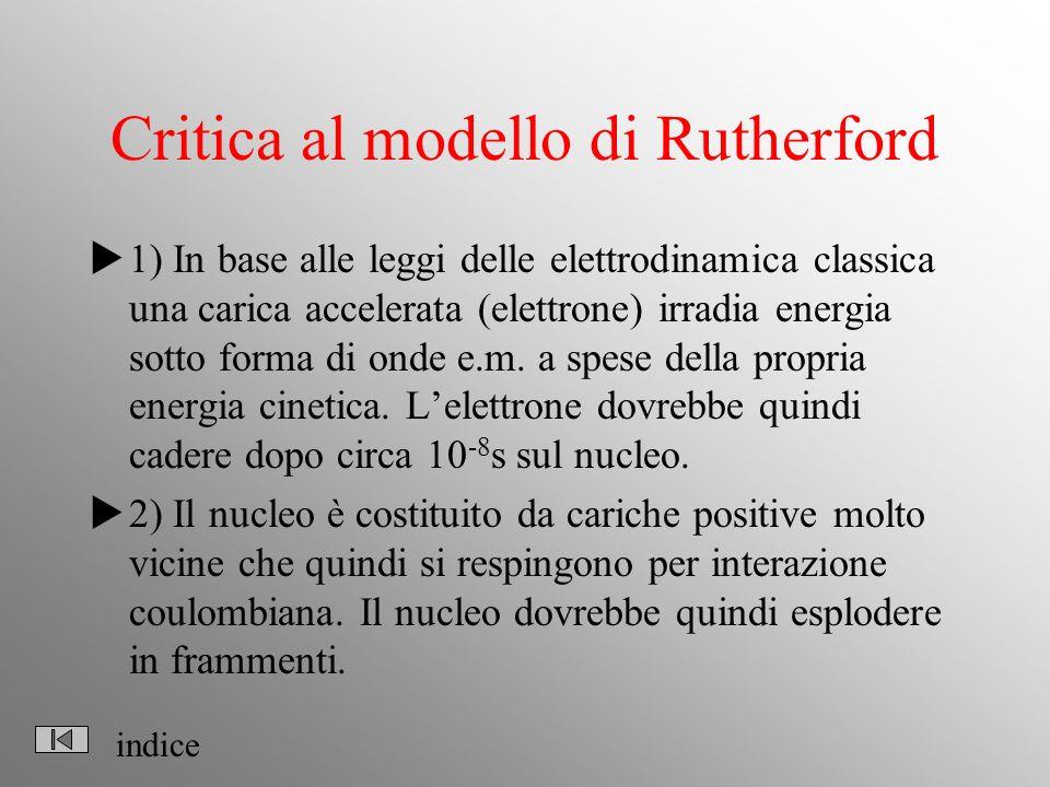 Critica al modello di Rutherford 1) In base alle leggi delle elettrodinamica classica una carica accelerata (elettrone) irradia energia sotto forma di onde e.m.