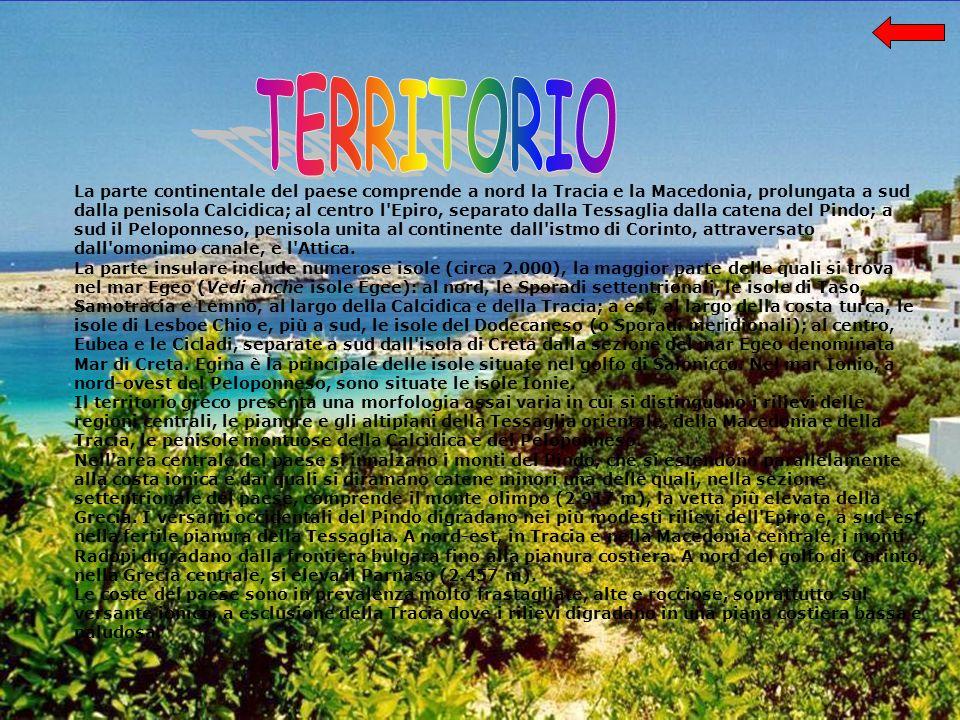 La parte continentale del paese comprende a nord la Tracia e la Macedonia, prolungata a sud dalla penisola Calcidica; al centro l Epiro, separato dalla Tessaglia dalla catena del Pindo; a sud il Peloponneso, penisola unita al continente dall istmo di Corinto, attraversato dall omonimo canale, e l Attica.