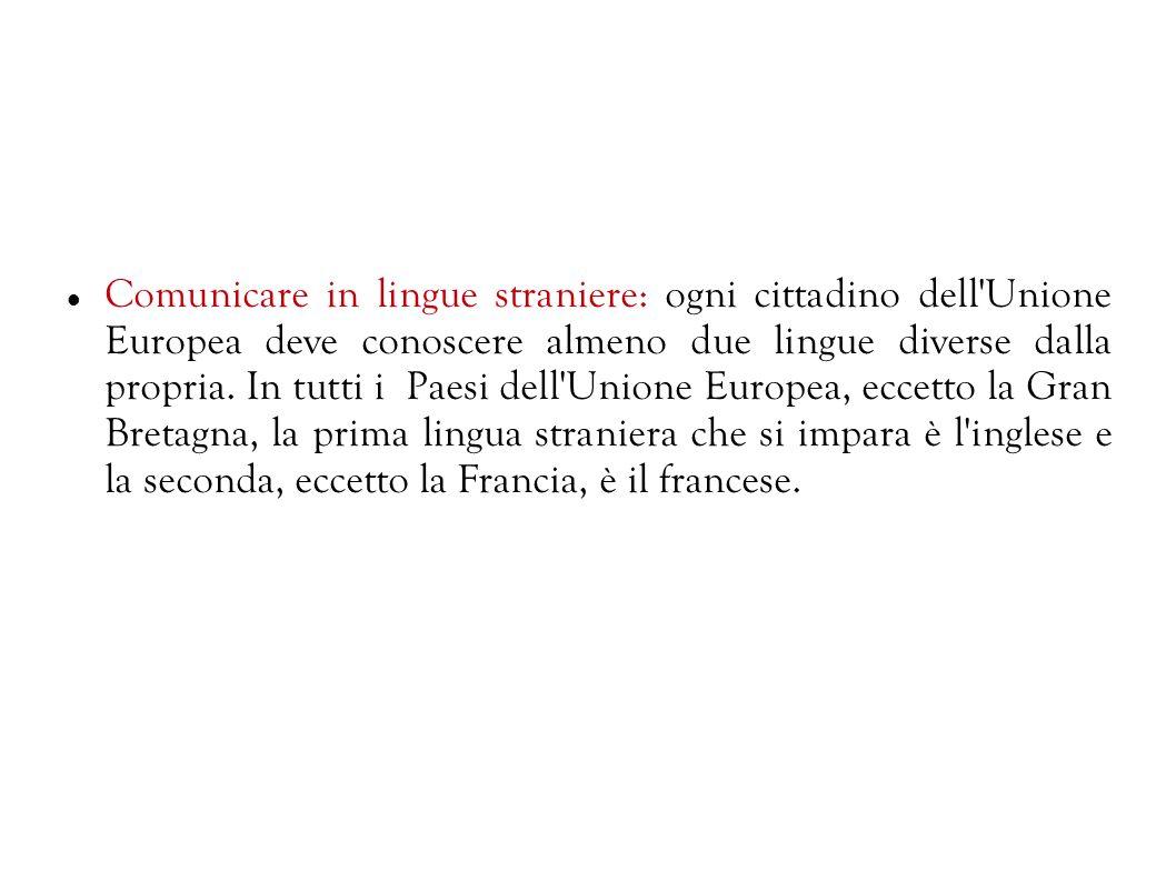 Comunicazione in madrelingua: per essere buoni cittadini europei, ognuno deve conoscere la propria madrelingua e per fare questo c'è bisogno di comuni