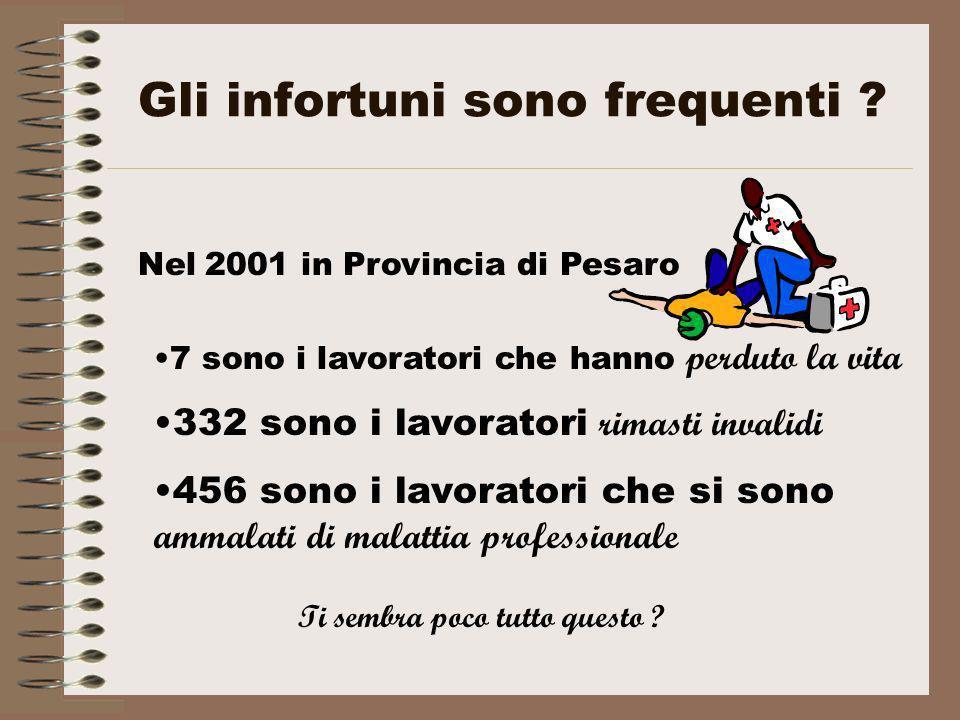 Gli infortuni sono frequenti ? Nel 2001 in Provincia di Pesaro 7 sono i lavoratori che hanno perduto la vita 332 sono i lavoratori rimasti invalidi 45