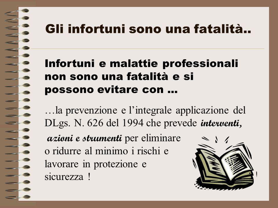Gli infortuni sono una fatalità.. Infortuni e malattie professionali non sono una fatalità e si possono evitare con... …la prevenzione e lintegrale ap