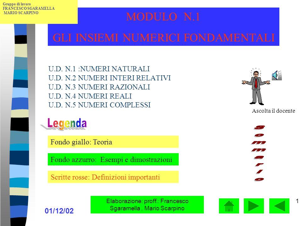 01/12/02 Elaborazione: proff.: Francesco Sgaramella, Mario Scarpino 1 U.D.