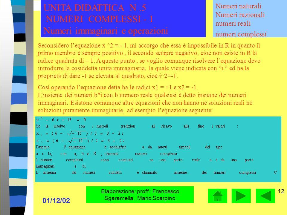 01/12/02 Elaborazione: proff.: Francesco Sgaramella, Mario Scarpino 11 Numeri naturali Numeri razionali numeri reali numeri complessi UNITA DIDATTICA