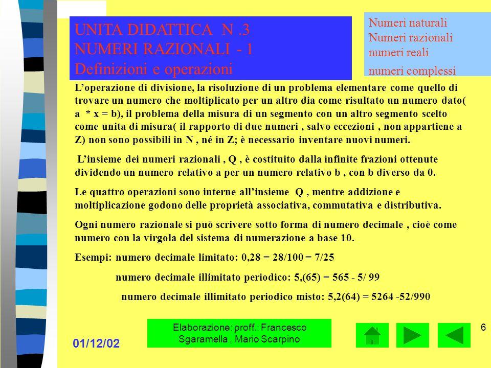 01/12/02 Elaborazione: proff.: Francesco Sgaramella, Mario Scarpino 6 Loperazione di divisione, la risoluzione di un problema elementare come quello di trovare un numero che moltiplicato per un altro dia come risultato un numero dato( a * x = b), il problema della misura di un segmento con un altro segmento scelto come unita di misura( il rapporto di due numeri, salvo eccezioni, non appartiene a Z) non sono possibili in N, né in Z; è necessario inventare nuovi numeri.