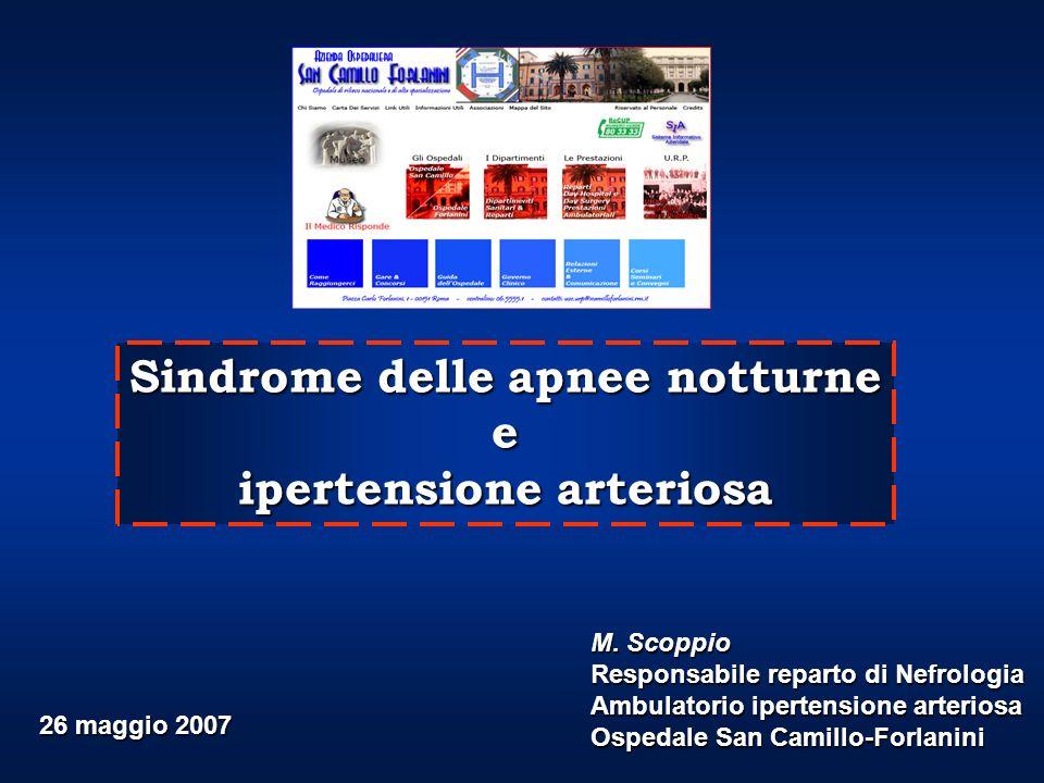 Sindrome delle apnee notturne e ipertensione arteriosa M. Scoppio Responsabile reparto di Nefrologia Ambulatorio ipertensione arteriosa Ospedale San C