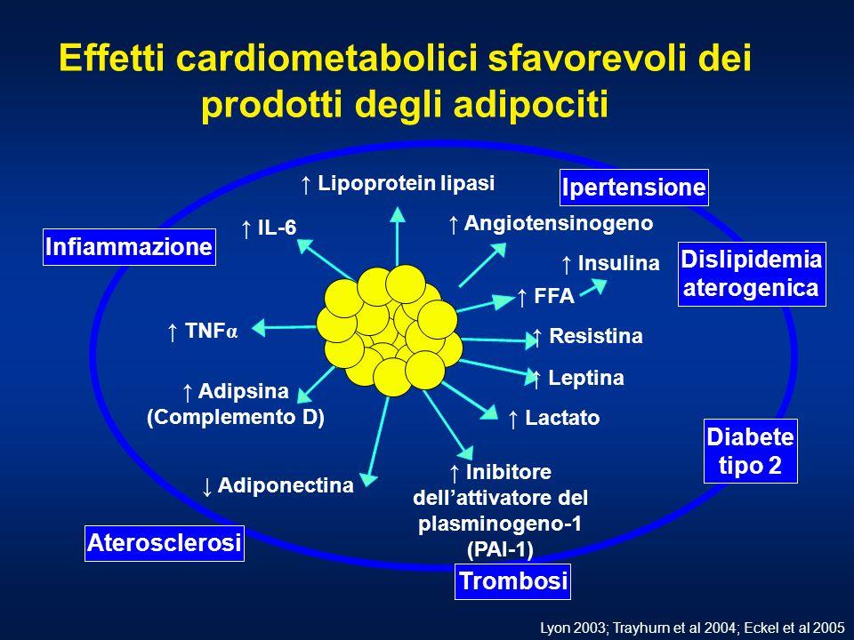 Effetti cardiometabolici sfavorevoli dei prodotti degli adipociti Adipose tissue IL-6 Adiponectina Leptina TNF α Adipsina (Complemento D) Inibitore dellattivatore del plasminogeno-1 (PAI-1) Resistina FFA Insulina Angiotensinogeno Lipoprotein lipasi Lactato Infiammazione Diabete tipo 2 Ipertensione Dislipidemia aterogenica Trombosi Aterosclerosi Lyon 2003; Trayhurn et al 2004; Eckel et al 2005