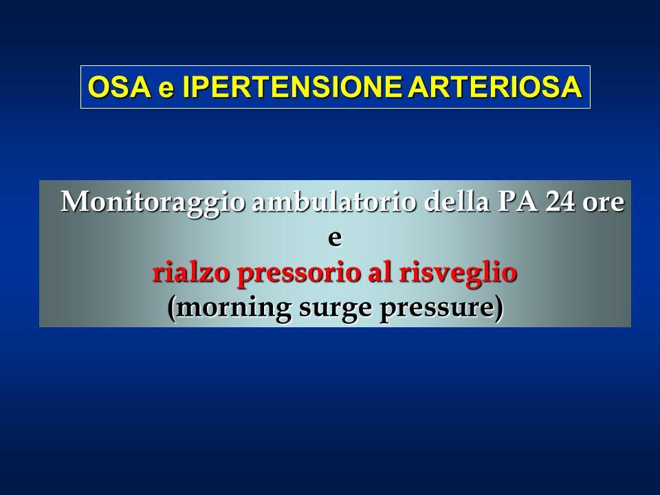 Monitoraggio ambulatorio della PA 24 ore Monitoraggio ambulatorio della PA 24 oree rialzo pressorio al risveglio (morning surge pressure) OSA e IPERTENSIONE ARTERIOSA