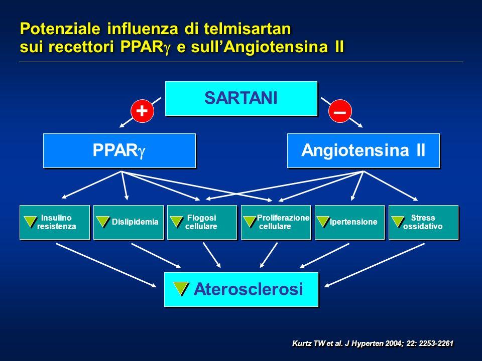 Potenziale influenza di telmisartan sui recettori PPAR e sullAngiotensina II Kurtz TW et al. J Hyperten 2004; 22: 2253-2261 SARTANI Aterosclerosi Angi