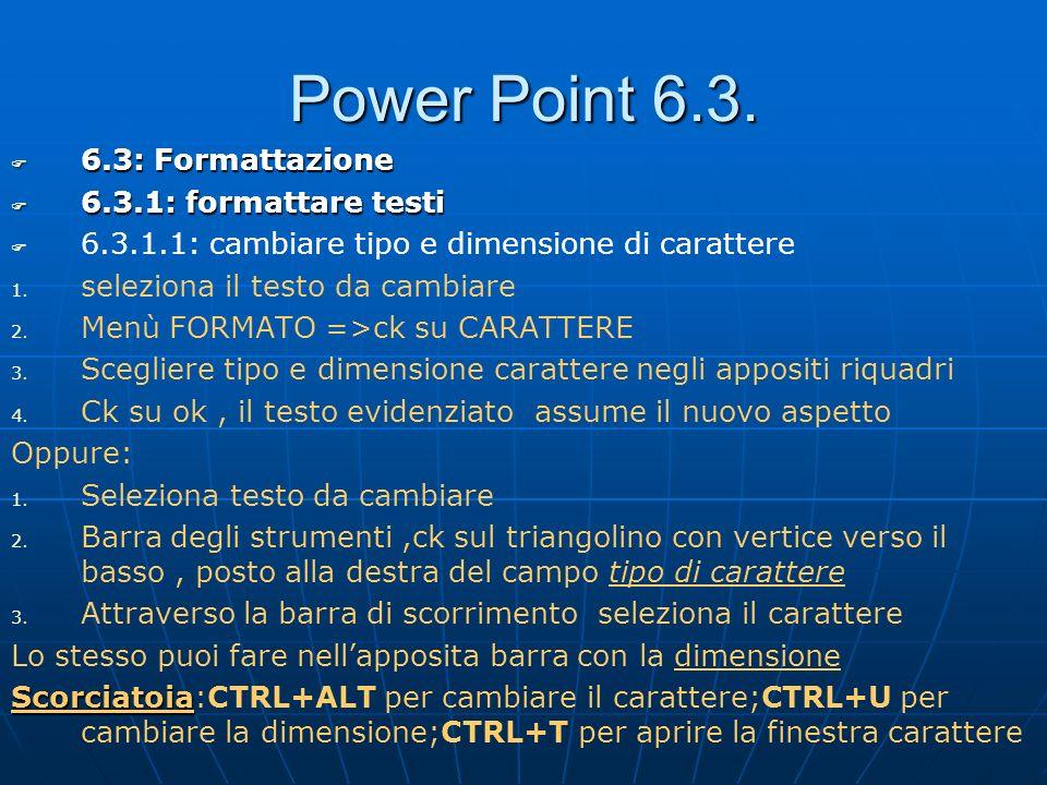 Power Point 6.3. 6.3: Formattazione 6.3: Formattazione 6.3.1: formattare testi 6.3.1: formattare testi 6.3.1.1: cambiare tipo e dimensione di caratter