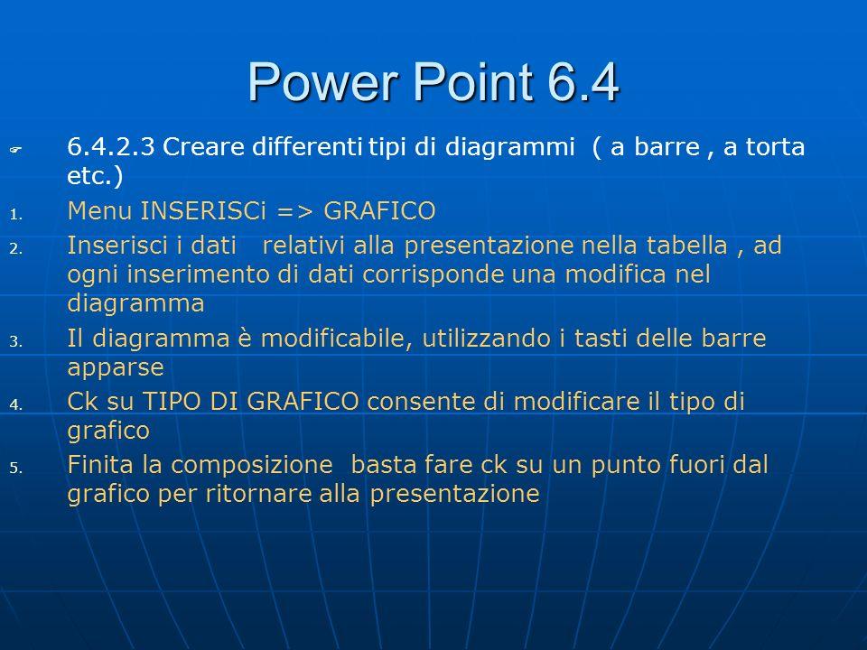 Power Point 6.4 6.4.2.3 Creare differenti tipi di diagrammi ( a barre, a torta etc.) 1. 1. Menu INSERISCi => GRAFICO 2. 2. Inserisci i dati relativi a