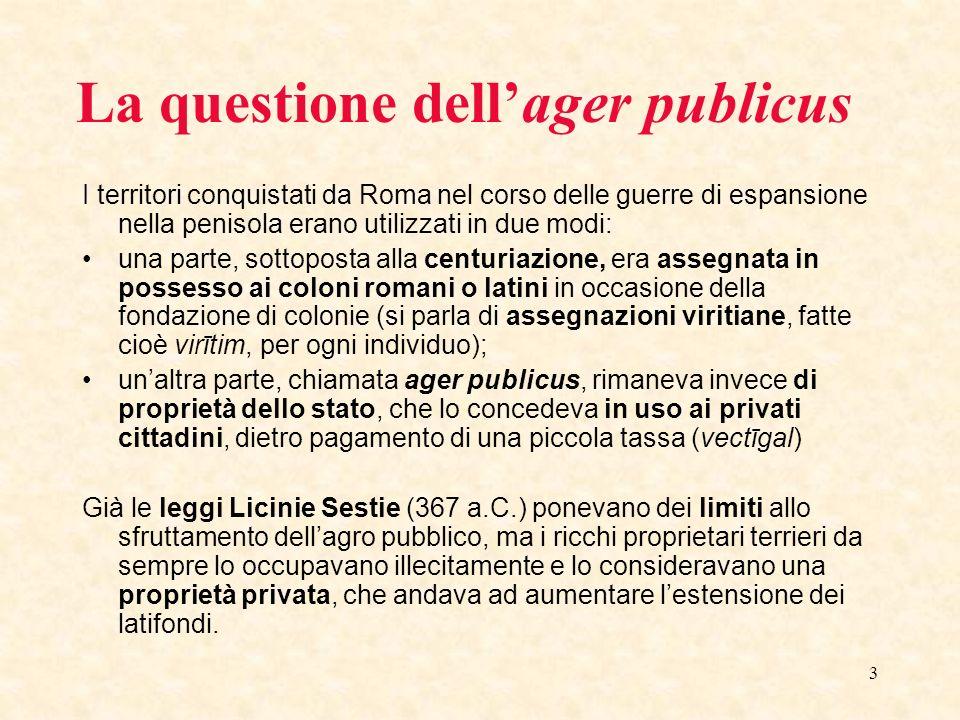 3 La questione dellager publicus I territori conquistati da Roma nel corso delle guerre di espansione nella penisola erano utilizzati in due modi: una