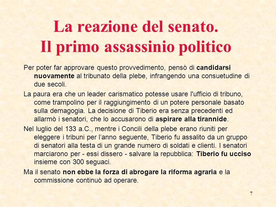 7 La reazione del senato. Il primo assassinio politico Per poter far approvare questo provvedimento, pensò di candidarsi nuovamente al tribunato della