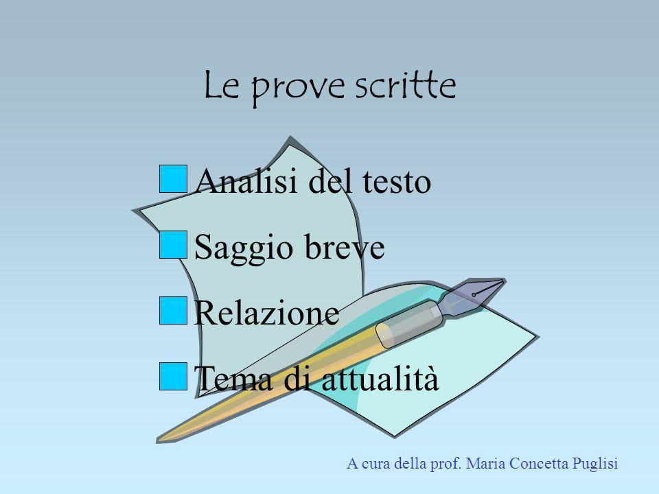 Le prove scritte Analisi del testo Saggio breve Relazione Tema di attualità A cura della prof. Maria Concetta Puglisi