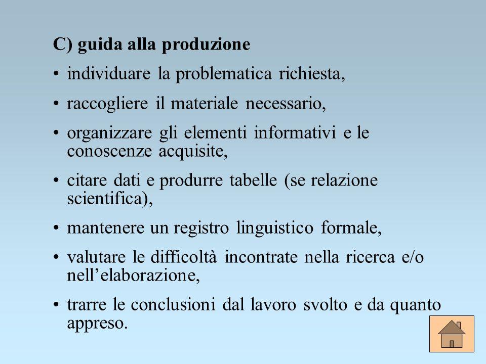 C) guida alla produzione individuare la problematica richiesta, raccogliere il materiale necessario, organizzare gli elementi informativi e le conosce