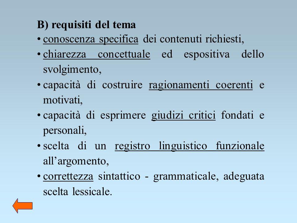 B) requisiti del tema conoscenza specifica dei contenuti richiesti, chiarezza concettuale ed espositiva dello svolgimento, capacità di costruire ragio