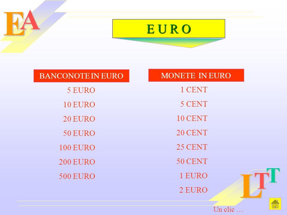 EAL T T E U R O BANCONOTE IN EURO 5 EURO 10 EURO 20 EURO 50 EURO 100 EURO 200 EURO 500 EURO MONETE IN EURO 1 CENT 5 CENT 10 CENT 20 CENT 25 CENT 50 CE