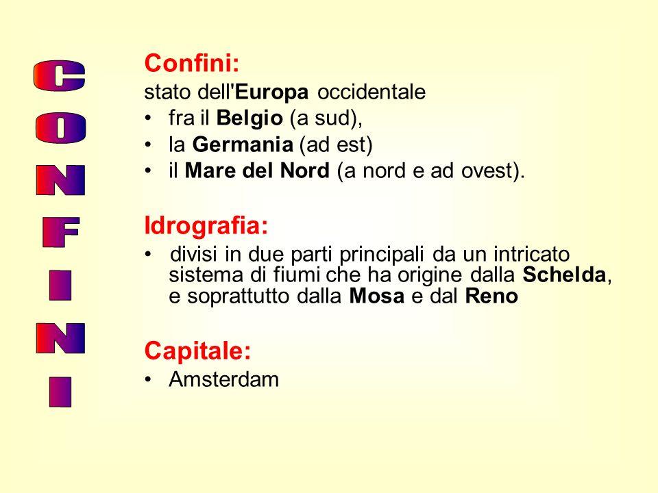 Confini: stato dell'Europa occidentale fra il Belgio (a sud), la Germania (ad est) il Mare del Nord (a nord e ad ovest). Idrografia: divisi in due par
