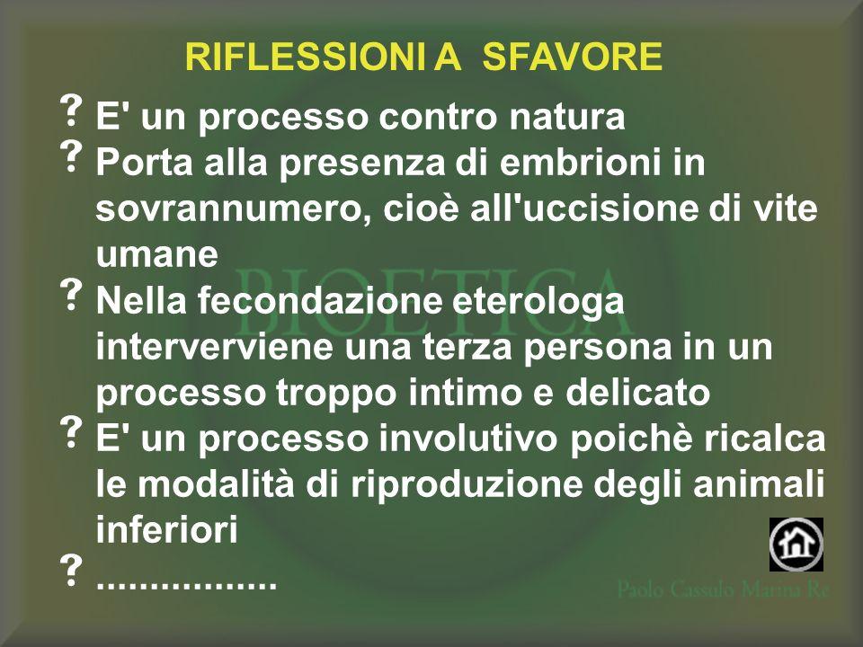 RIFLESSIONI A SFAVORE E' un processo contro natura Porta alla presenza di embrioni in sovrannumero, cioè all'uccisione di vite umane Nella fecondazion