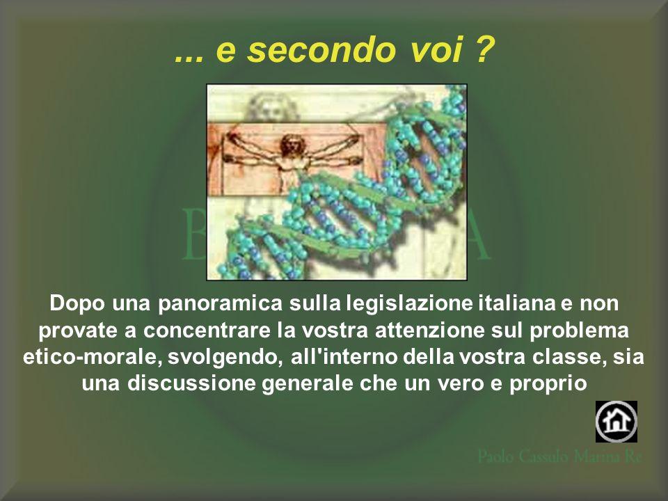 ... e secondo voi ? Dopo una panoramica sulla legislazione italiana e non provate a concentrare la vostra attenzione sul problema etico-morale, svolge