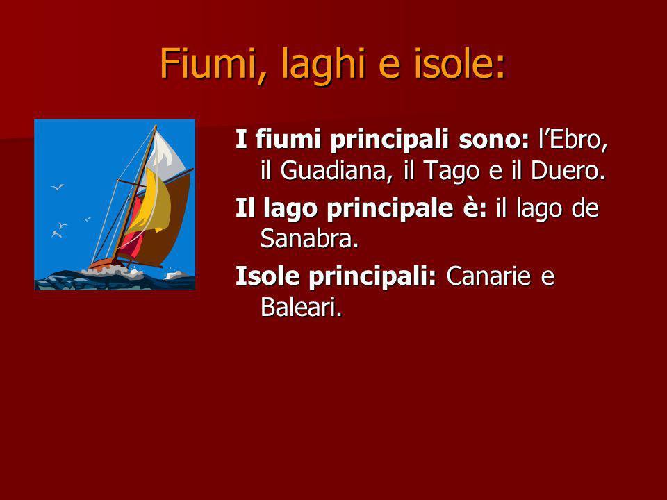 Fiumi, laghi e isole: I fiumi principali sono: lEbro, il Guadiana, il Tago e il Duero. Il lago principale è: il lago de Sanabra. Isole principali: Can
