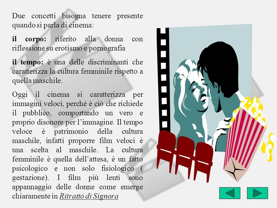 Due concetti bisogna tenere presente quando si parla di cinema: il corpo: riferito alla donna con riflessione su erotismo e pornografia il tempo: è un