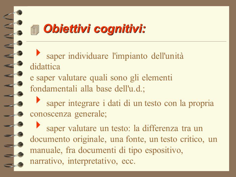 FINALITA' 4 Obiettivi cognitivi 4Abilità di studio 4Abilità linguistiche