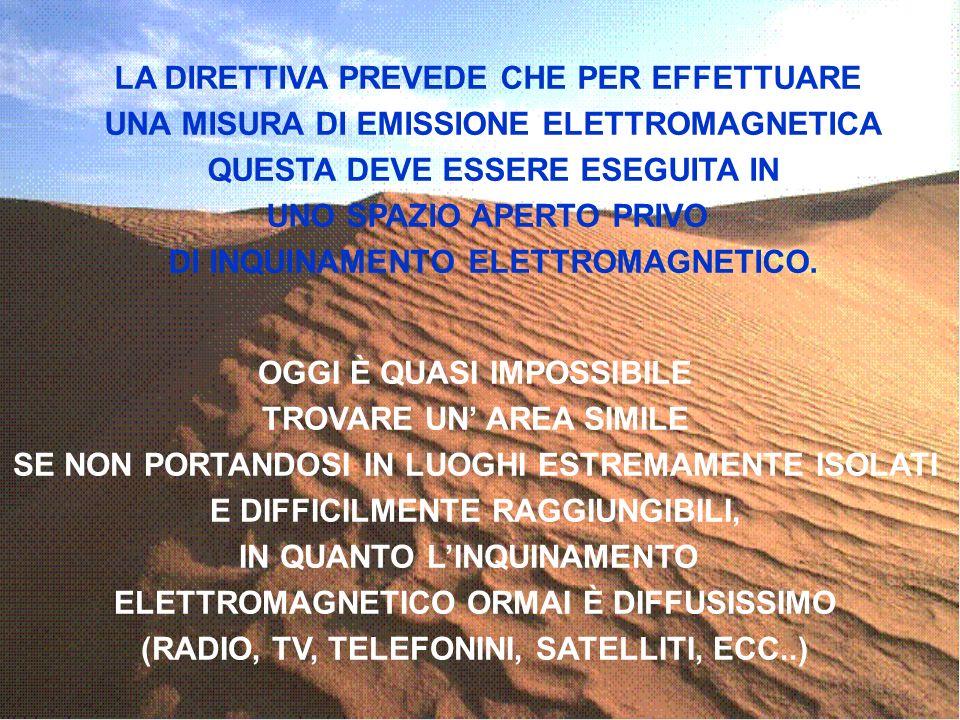 Carlo Gecchelin 2000 LA DIRETTIVA PREVEDE CHE PER EFFETTUARE UNA MISURA DI EMISSIONE ELETTROMAGNETICA QUESTA DEVE ESSERE ESEGUITA IN UNO SPAZIO APERTO