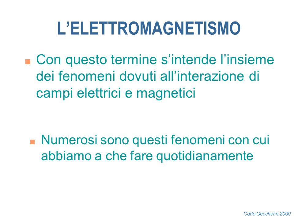 Carlo Gecchelin 2000 LELETTROMAGNETISMO n Con questo termine sintende linsieme dei fenomeni dovuti allinterazione di campi elettrici e magnetici n Num