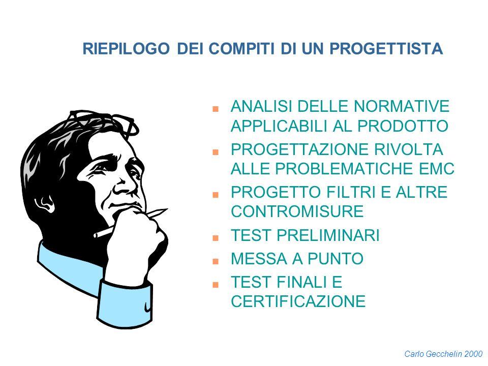 Carlo Gecchelin 2000 RIEPILOGO DEI COMPITI DI UN PROGETTISTA n ANALISI DELLE NORMATIVE APPLICABILI AL PRODOTTO n PROGETTAZIONE RIVOLTA ALLE PROBLEMATI