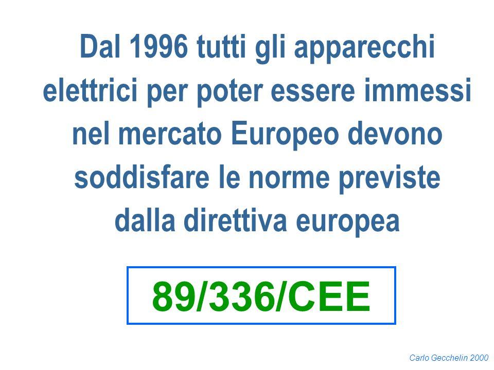 Carlo Gecchelin 2000 Dal 1996 tutti gli apparecchi elettrici per poter essere immessi nel mercato Europeo devono soddisfare le norme previste dalla di