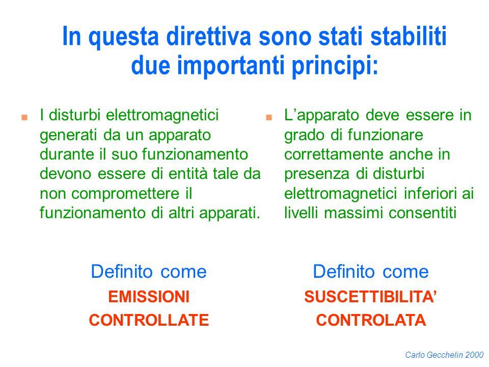 Carlo Gecchelin 2000 In questa direttiva sono stati stabiliti due importanti principi: n I disturbi elettromagnetici generati da un apparato durante i