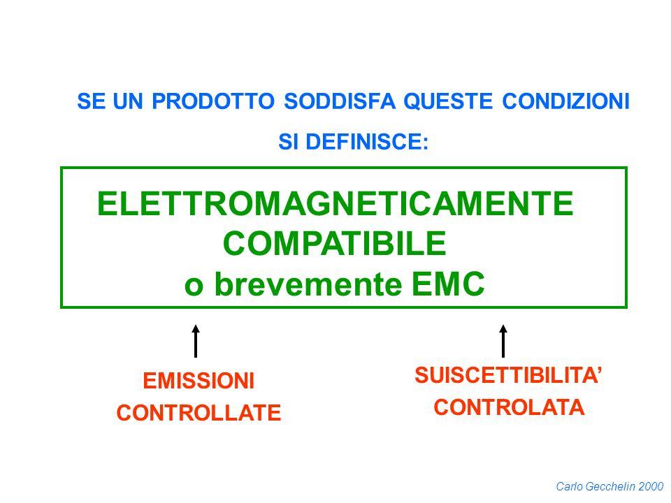 Carlo Gecchelin 2000 EMISSIONI CONTROLLATE SUISCETTIBILITA CONTROLATA SE UN PRODOTTO SODDISFA QUESTE CONDIZIONI SI DEFINISCE: ELETTROMAGNETICAMENTE CO