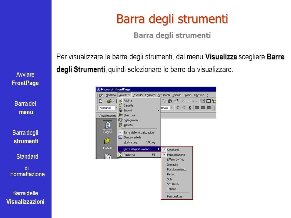 Avviare FrontPage Barra dei menu Barra degli strumenti Standard Barra delle Visualizzazioni di Formattazione Barra degli strumenti VisualizzaBarre deg