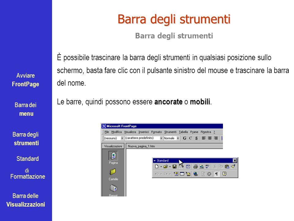 Avviare FrontPage Barra dei menu Barra degli strumenti Standard Barra delle Visualizzazioni di Formattazione Barra degli strumenti È possibile trascin