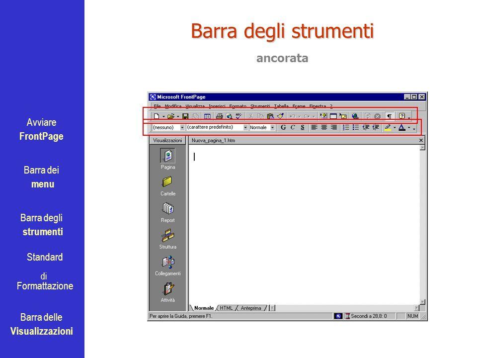 Avviare FrontPage Barra dei menu Barra degli strumenti Standard Barra delle Visualizzazioni di Formattazione Barra degli strumenti ancorata