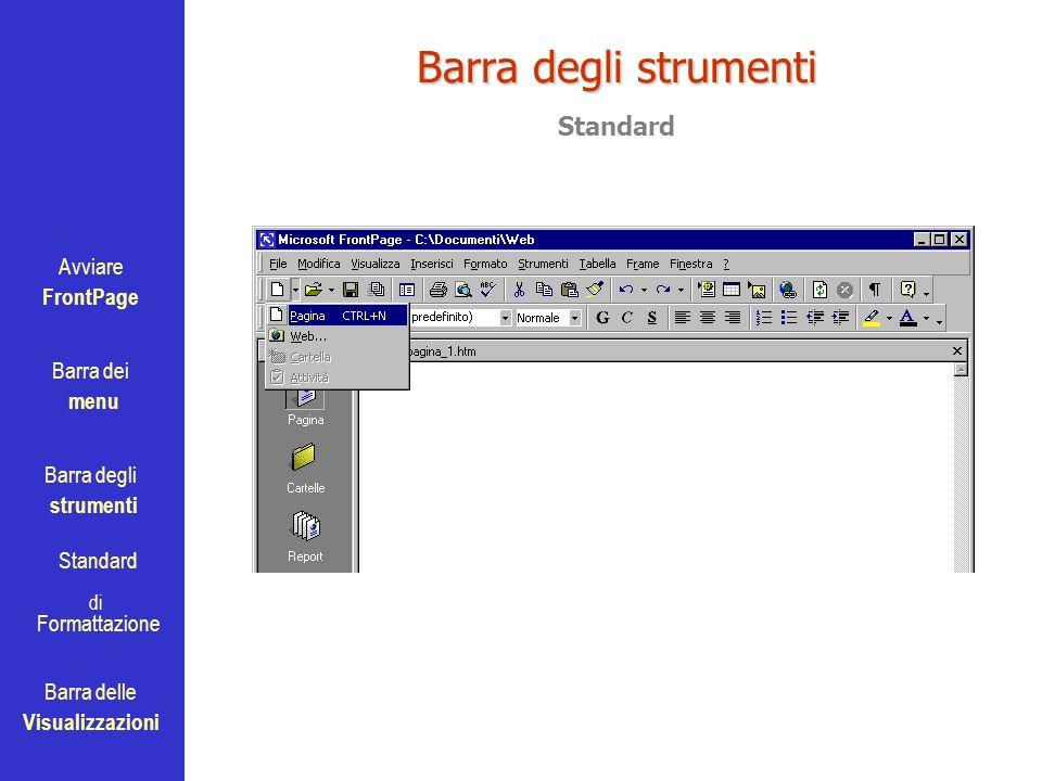 Avviare FrontPage Barra dei menu Barra degli strumenti Standard Barra delle Visualizzazioni di Formattazione Barra degli strumenti Standard