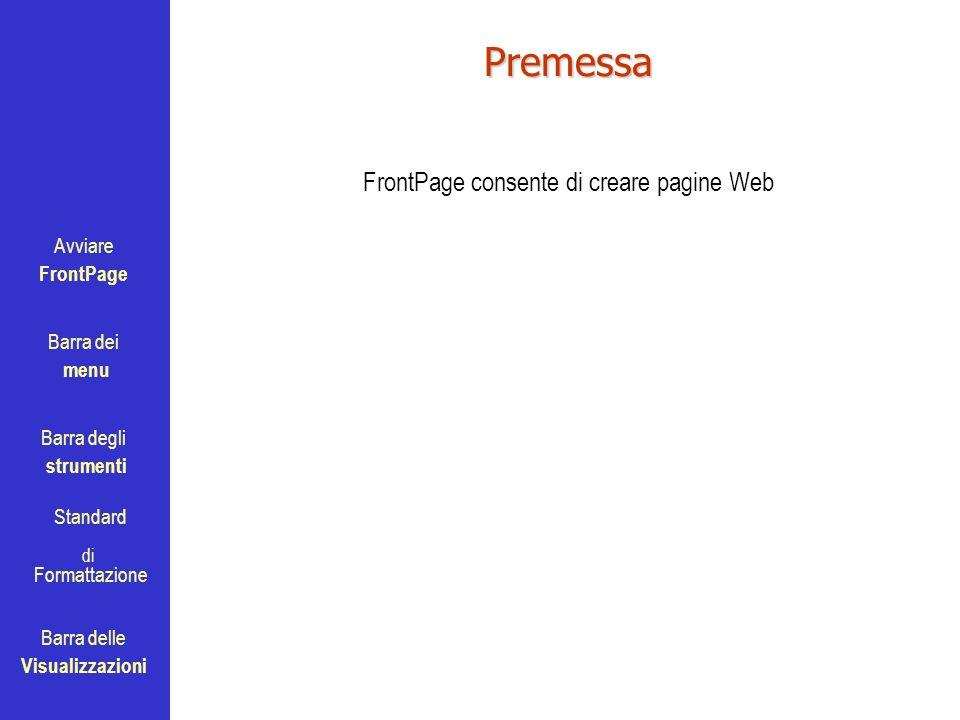 Avviare FrontPage Barra dei menu Barra degli strumenti Standard Barra delle Visualizzazioni di FormattazionePremessa FrontPage consente di creare pagi