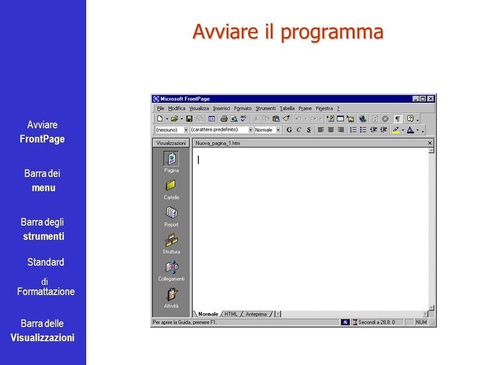 Avviare FrontPage Barra dei menu Barra degli strumenti Standard Barra delle Visualizzazioni di Formattazione Avviare il programma