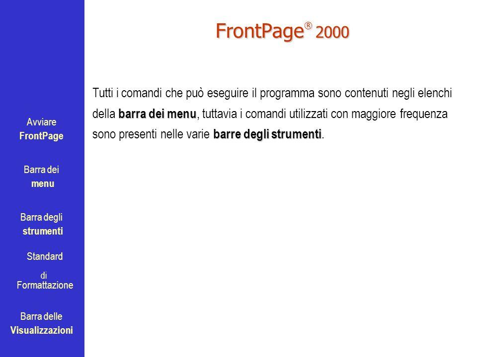 Avviare FrontPage Barra dei menu Barra degli strumenti Standard Barra delle Visualizzazioni di Formattazione FrontPage ® 2000 barra dei menu barre deg