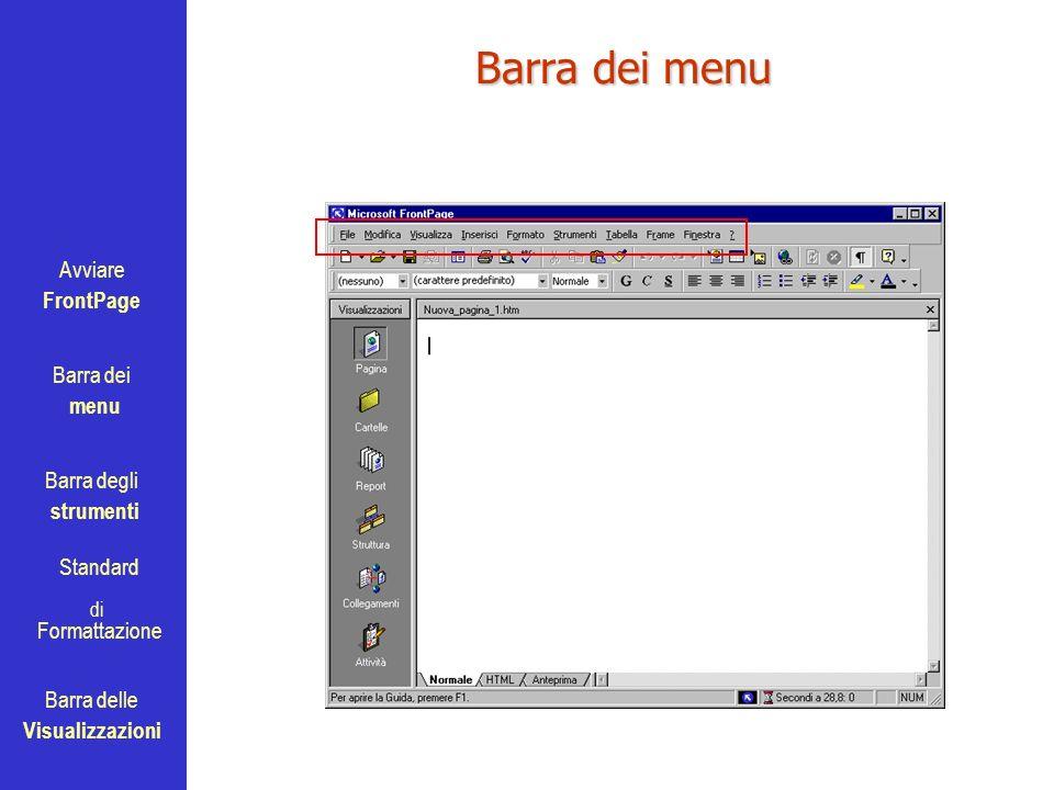 Avviare FrontPage Barra dei menu Barra degli strumenti Standard Barra delle Visualizzazioni di Formattazione Barra dei menu