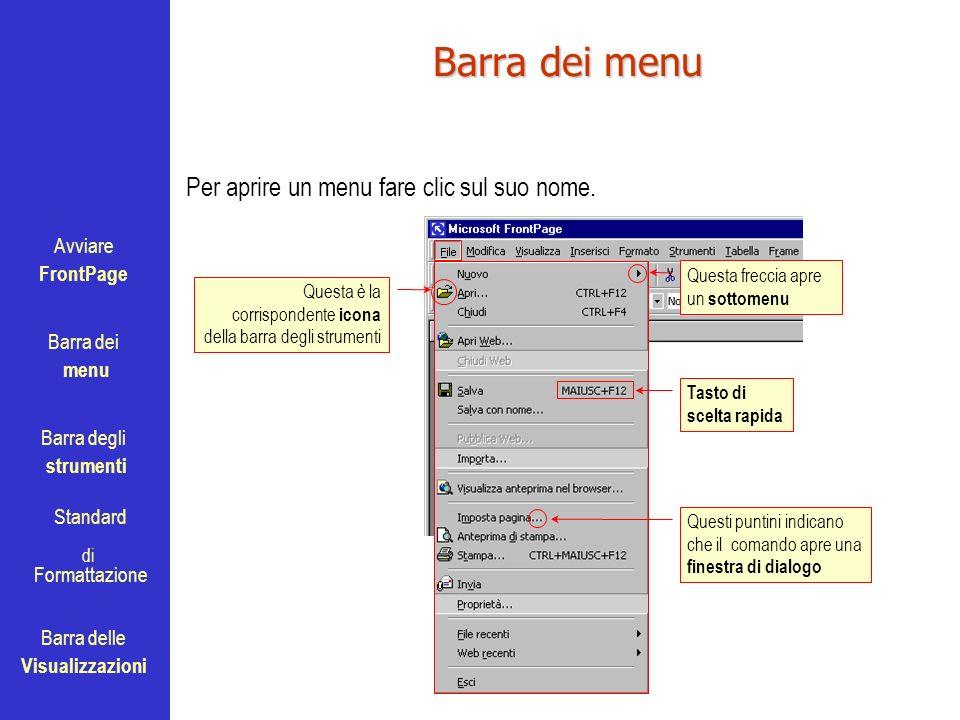 Avviare FrontPage Barra dei menu Barra degli strumenti Standard Barra delle Visualizzazioni di Formattazione Barra dei menu Per aprire un menu fare cl