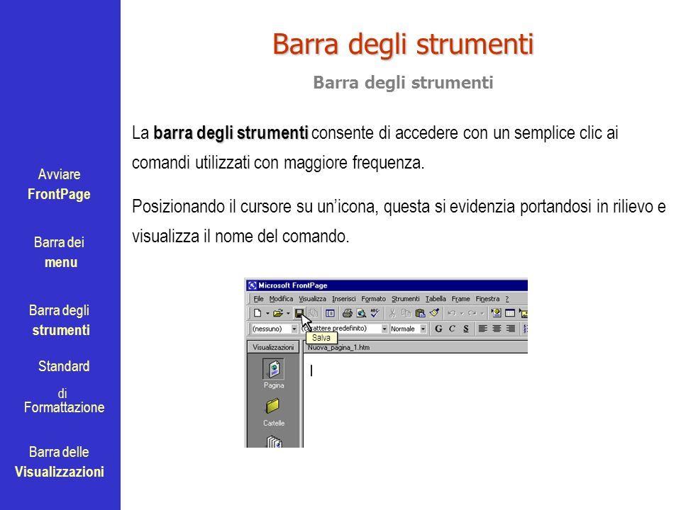 Avviare FrontPage Barra dei menu Barra degli strumenti Standard Barra delle Visualizzazioni di Formattazione Barra degli strumenti barra degli strumen