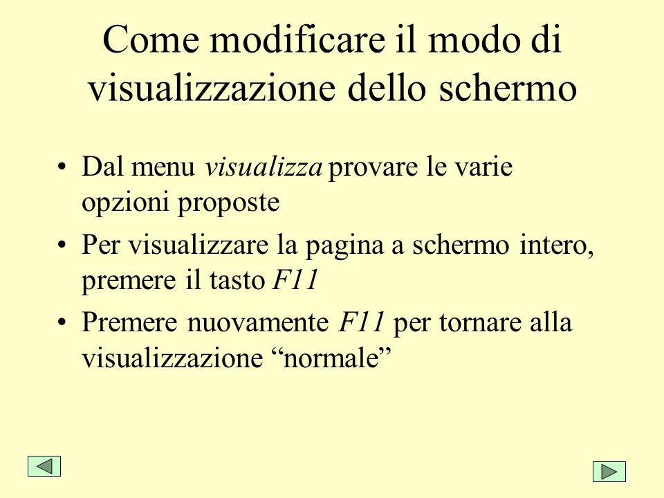 Come modificare il modo di visualizzazione dello schermo Dal menu visualizza provare le varie opzioni proposte Per visualizzare la pagina a schermo in