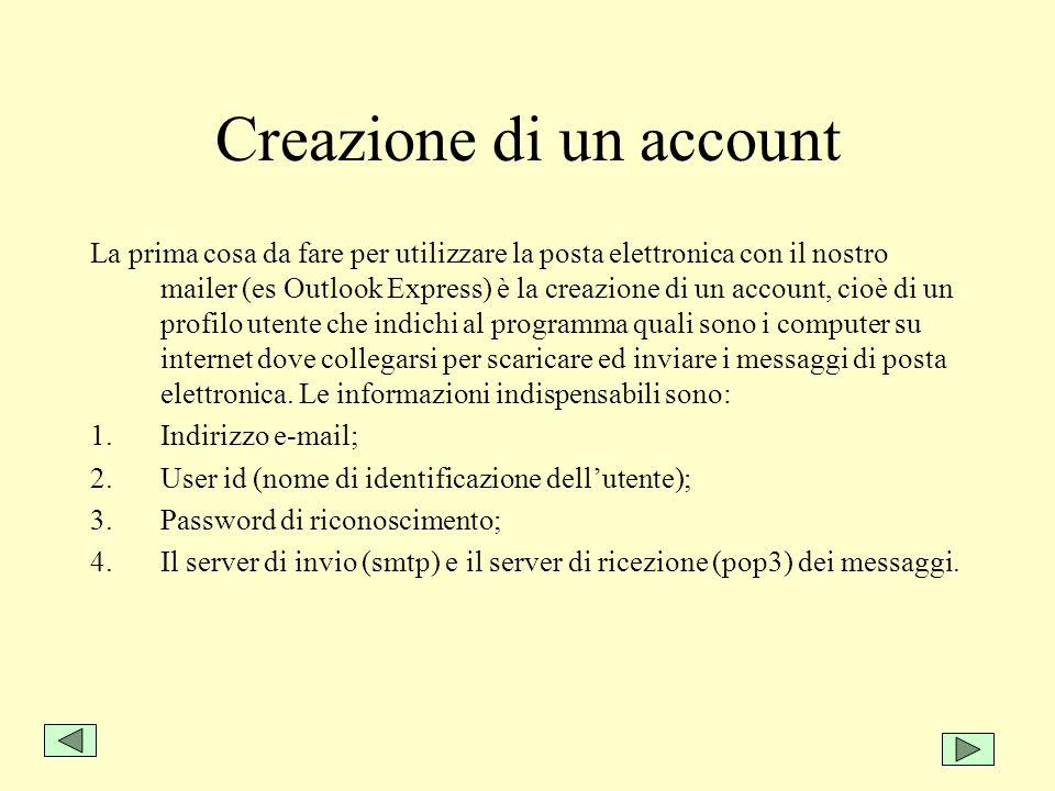 Creazione di un account La prima cosa da fare per utilizzare la posta elettronica con il nostro mailer (es Outlook Express) è la creazione di un accou