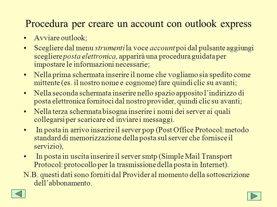 Procedura per creare un account con outlook express Avviare outlook; Scegliere dal menu strumenti la voce account poi dal pulsante aggiungi scegliere