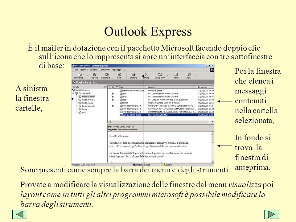 Outlook Express È il mailer in dotazione con il pacchetto Microsoft facendo doppio clic sullicona che lo rappresenta si apre uninterfaccia con tre sot