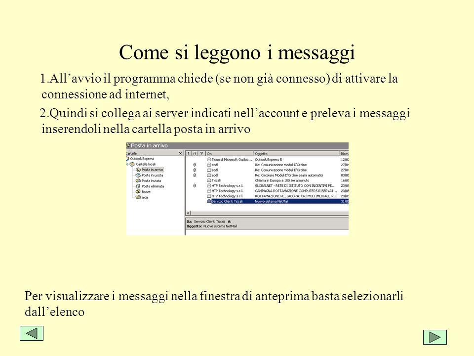 Come si leggono i messaggi 1.Allavvio il programma chiede (se non già connesso) di attivare la connessione ad internet, 2.Quindi si collega ai server