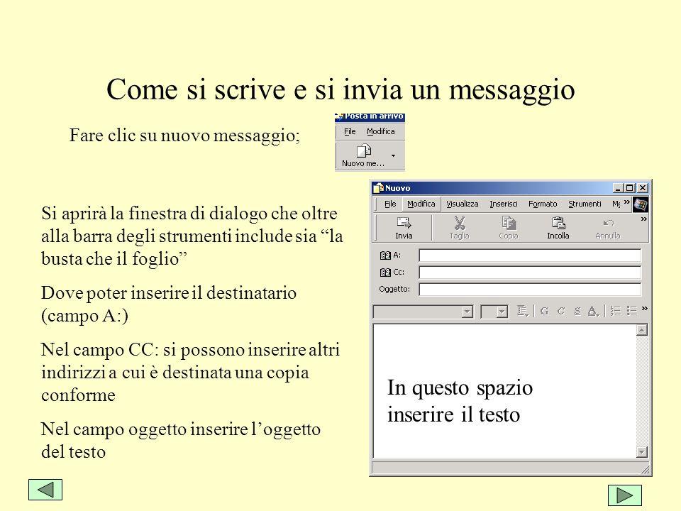 Come si scrive e si invia un messaggio Fare clic su nuovo messaggio; Si aprirà la finestra di dialogo che oltre alla barra degli strumenti include sia